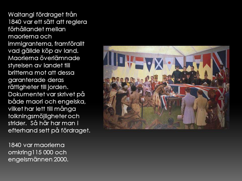 Waitangi fördraget från 1840 var ett sätt att reglera förhållandet mellan maorierna och immigranterna, framförallt vad gällde köp av land. Maorierna överlämnade styrelsen av landet till britterna mot att dessa garanterade deras rättigheter till jorden. Dokumentet var skrivet på både maori och engelska, vilket har lett till många tolkningsmöjligheter och strider. Så här har man i efterhand sett på fördraget.