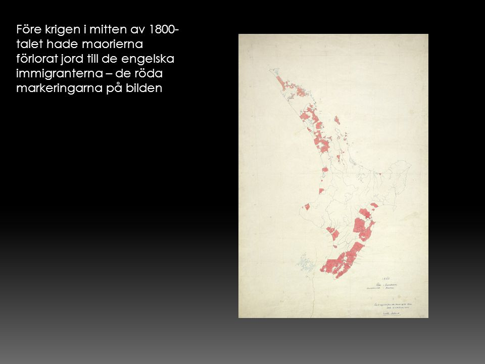 Före krigen i mitten av 1800-talet hade maorierna förlorat jord till de engelska immigranterna – de röda markeringarna på bilden