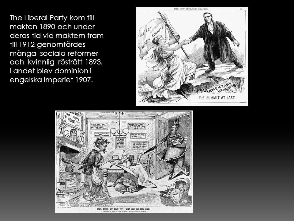 The Liberal Party kom till makten 1890 och under deras tid vid maktem fram till 1912 genomfördes många sociala reformer och kvinnlig rösträtt 1893.
