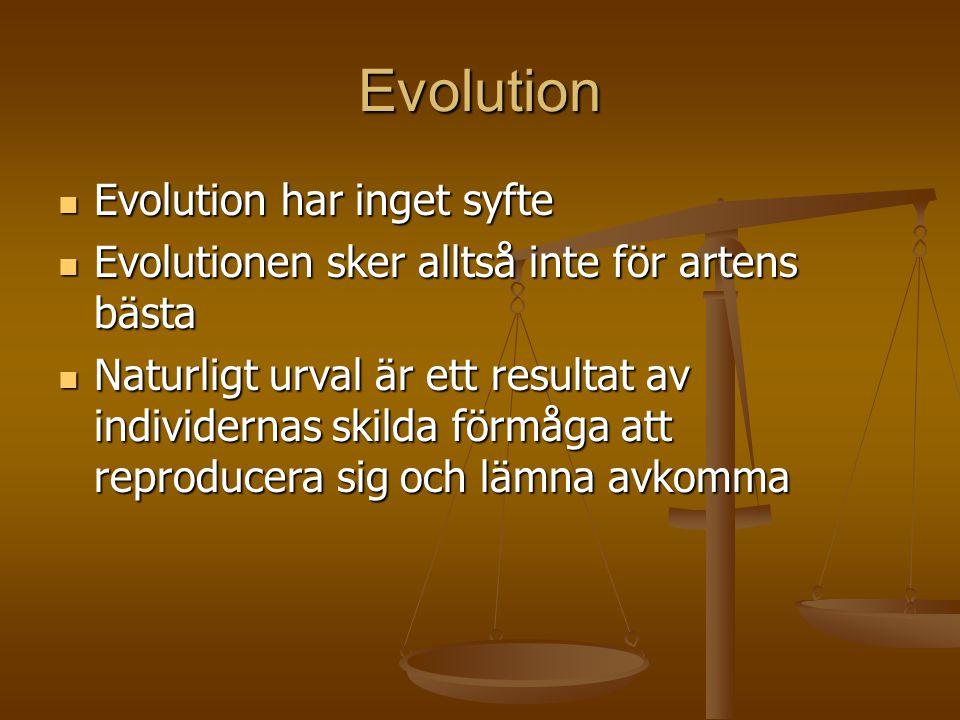 Evolution Evolution har inget syfte