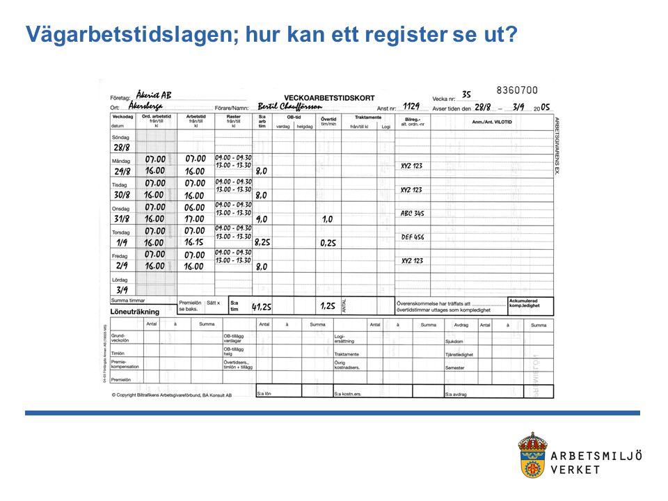 Vägarbetstidslagen; hur kan ett register se ut