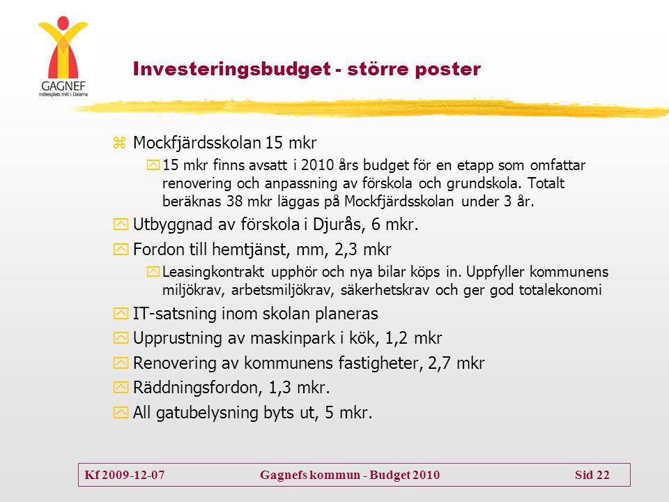 Investeringsbudget - större poster