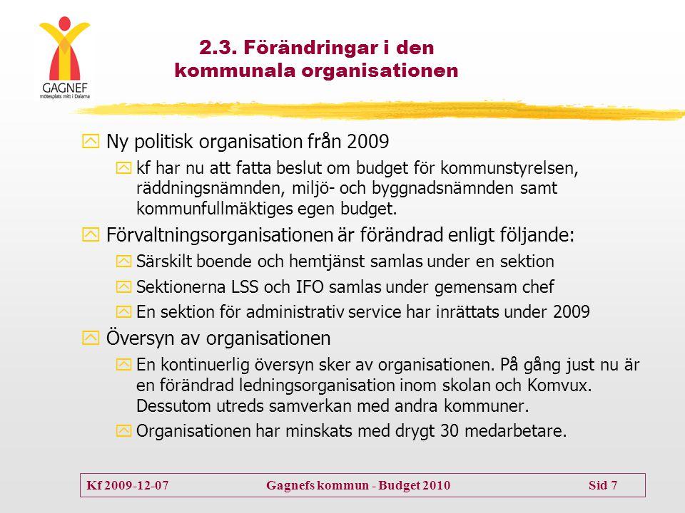2.3. Förändringar i den kommunala organisationen