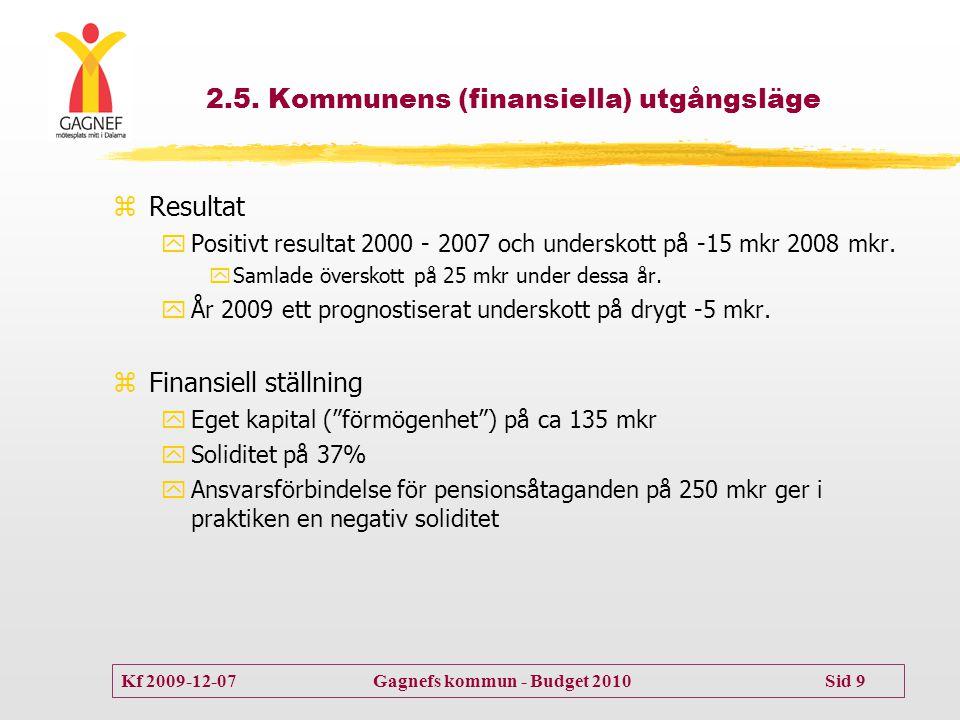 2.5. Kommunens (finansiella) utgångsläge