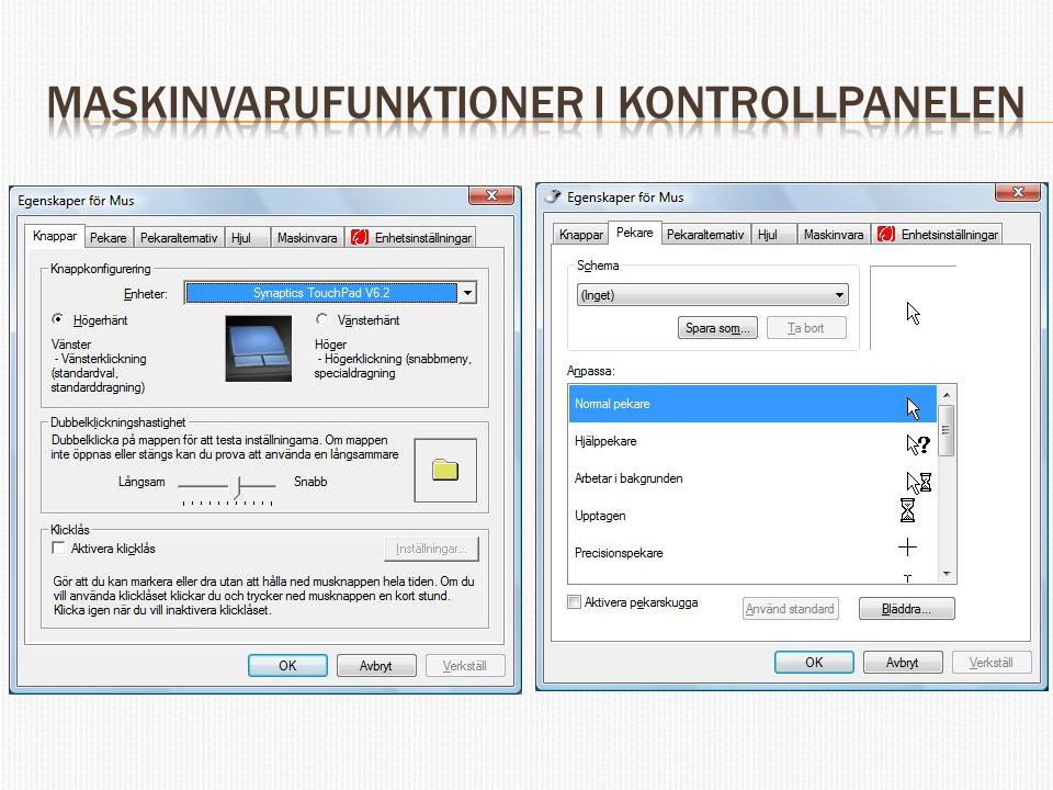 Maskinvarufunktioner i kontrollpanelen