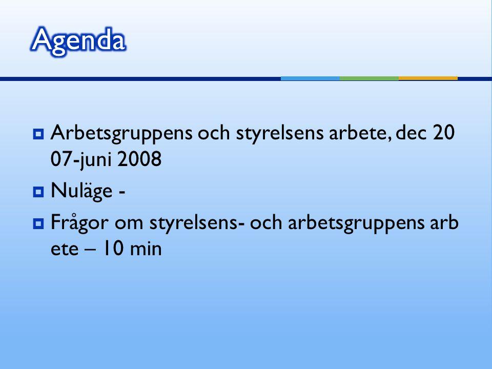 Agenda Arbetsgruppens och styrelsens arbete, dec 2007-juni 2008