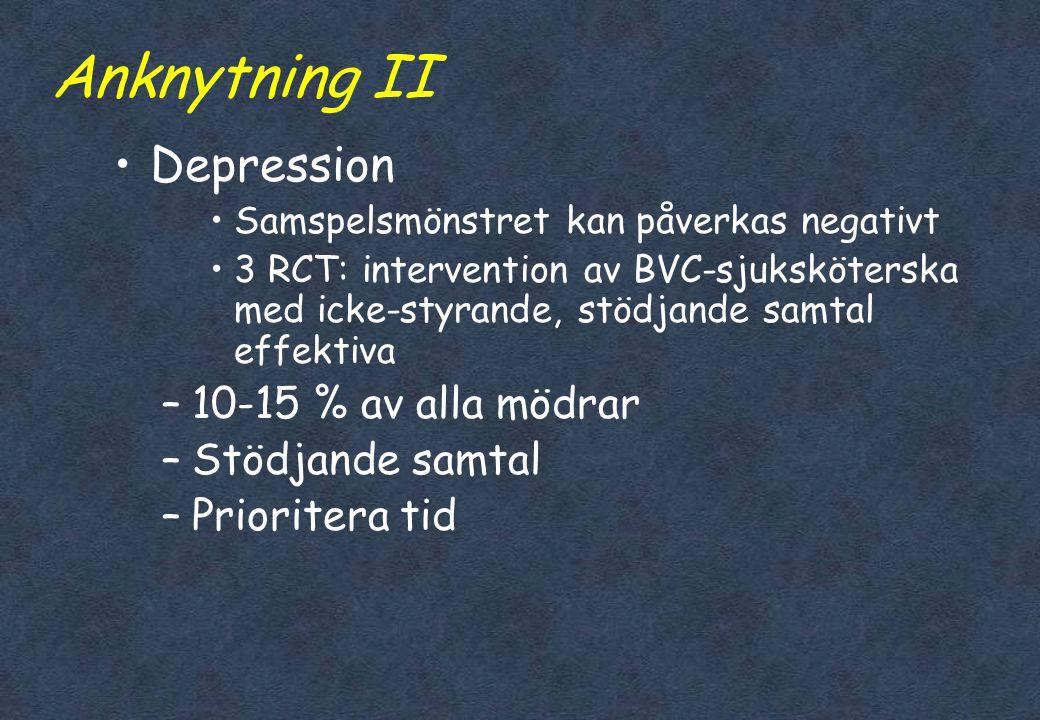 Anknytning II Depression 10-15 % av alla mödrar Stödjande samtal