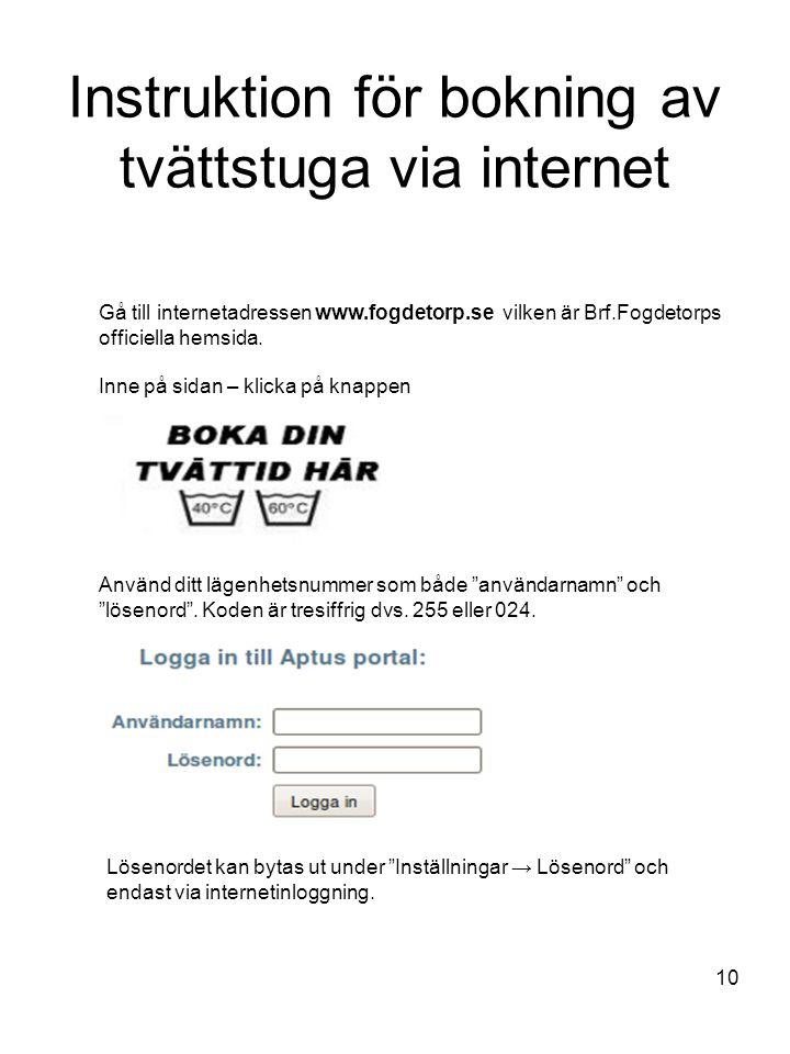 Instruktion för bokning av tvättstuga via internet