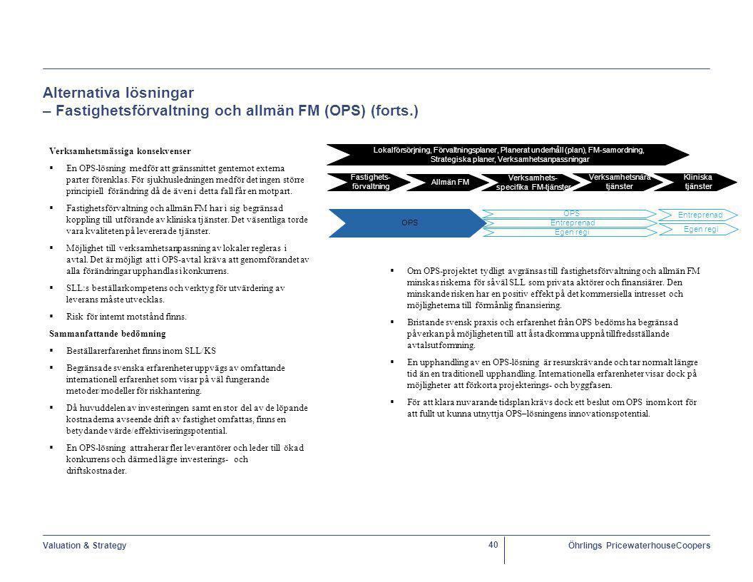 Alternativa lösningar – Fastighetsförvaltning och allmän FM (OPS) (forts.)