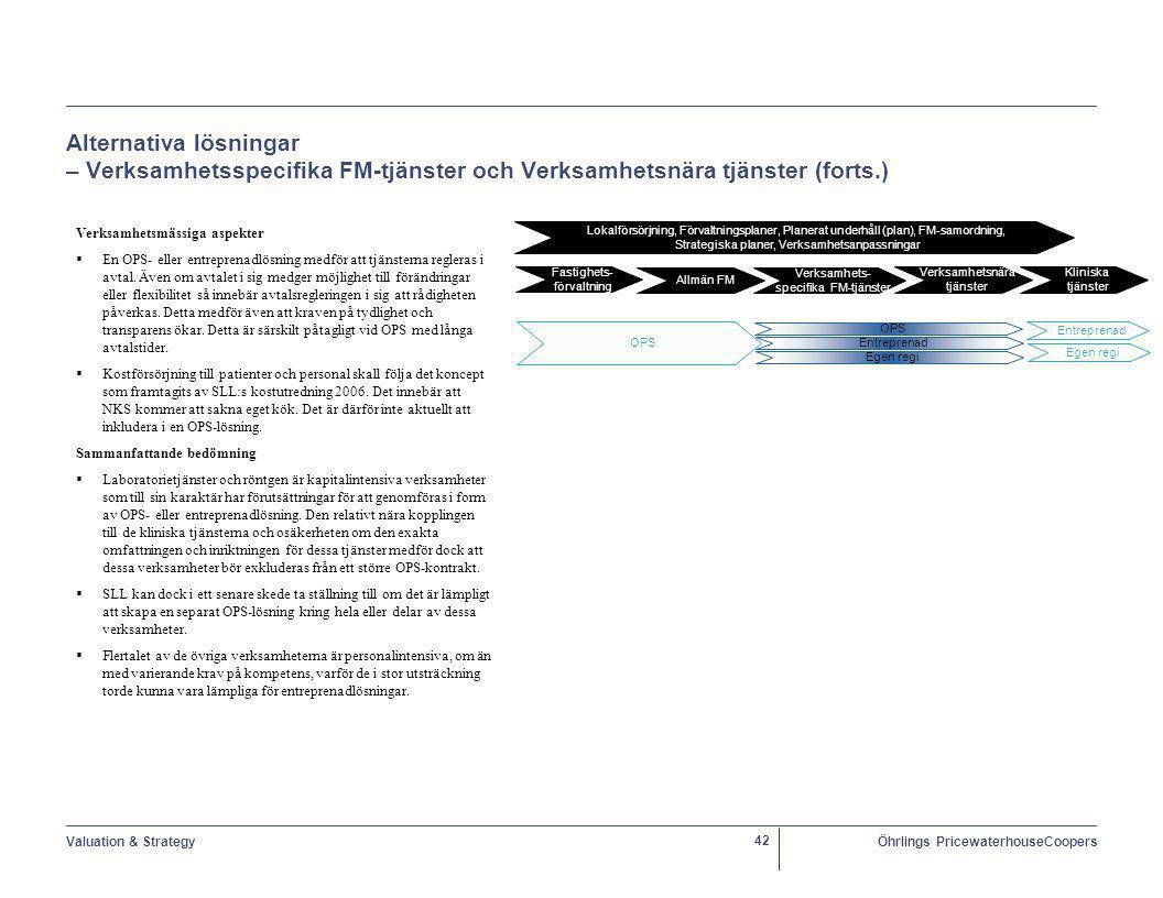 Alternativa lösningar – Verksamhetsspecifika FM-tjänster och Verksamhetsnära tjänster (forts.)