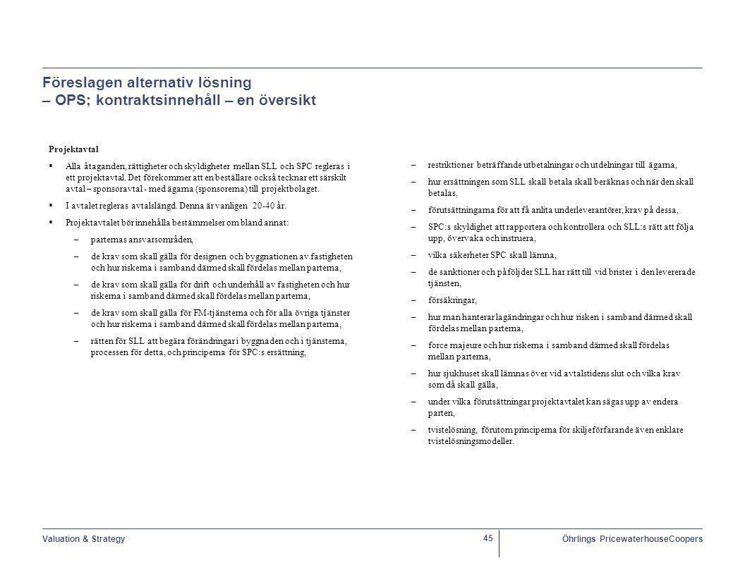Föreslagen alternativ lösning – OPS; kontraktsinnehåll – en översikt