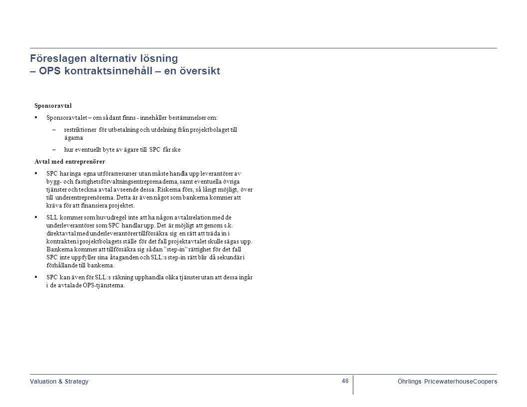 Föreslagen alternativ lösning – OPS kontraktsinnehåll – en översikt