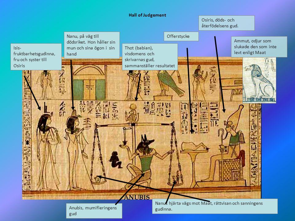 Hall of Judgement Osiris, döds- och återfödelsens gud. Nanu, på väg till dödsriket. Hon håller sin mun och sina ögon i sin hand.