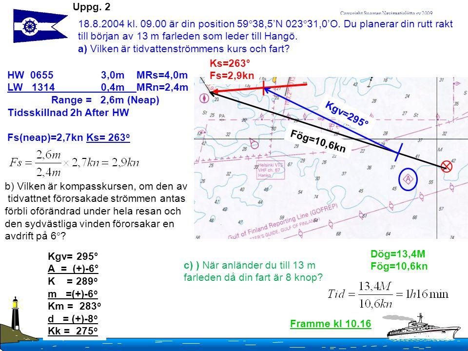Uppg. 2 18.8.2004 kl. 09.00 är din position 5938,5'N 02331,0'O. Du planerar din rutt rakt till början av 13 m farleden som leder till Hangö.