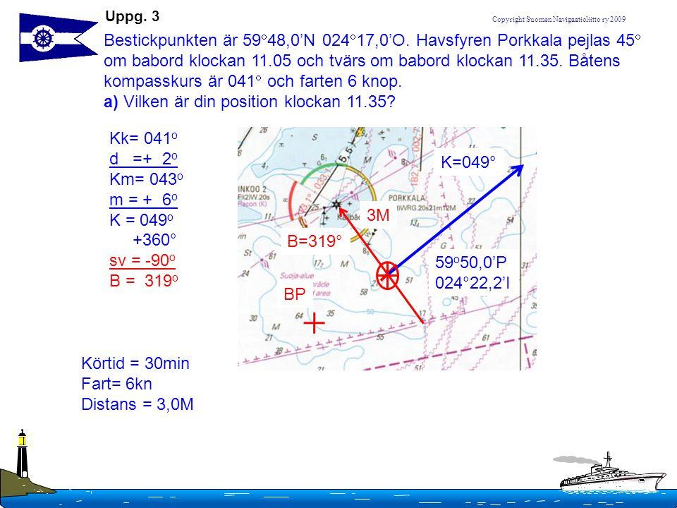 Bestickpunkten är 5948,0'N 02417,0'O. Havsfyren Porkkala pejlas 45