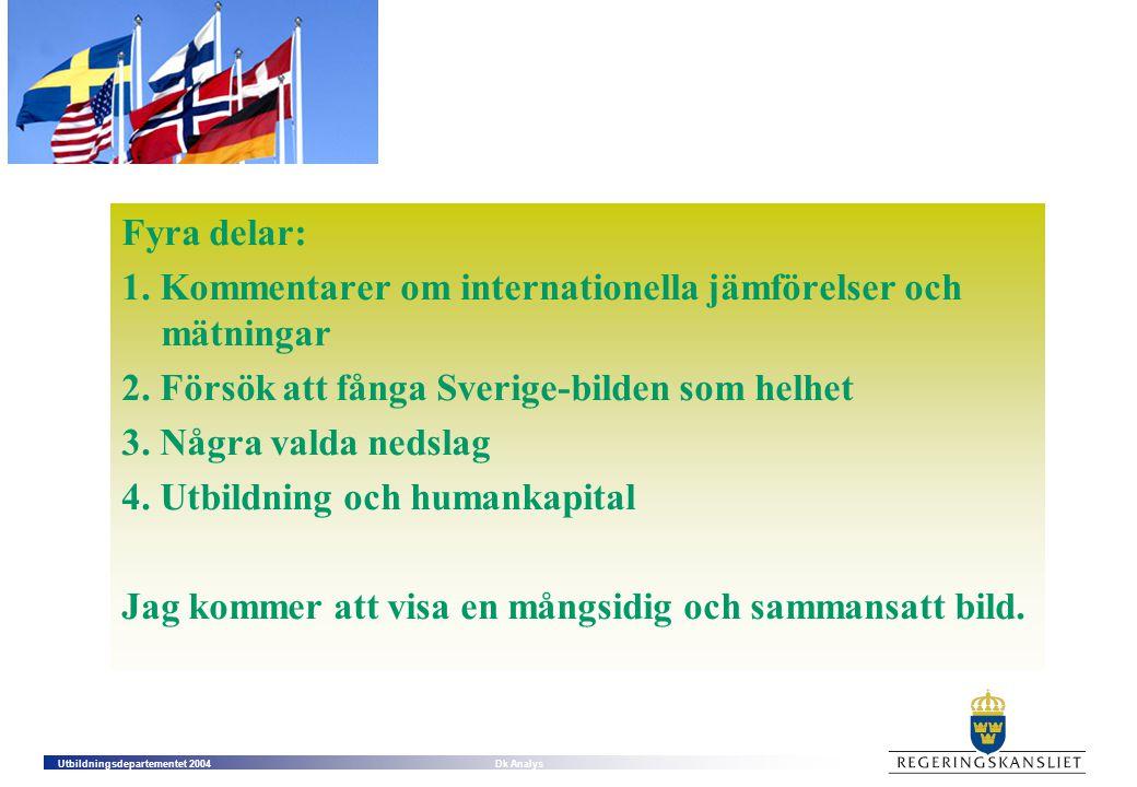 Fyra delar: 1. Kommentarer om internationella jämförelser och mätningar. 2. Försök att fånga Sverige-bilden som helhet.