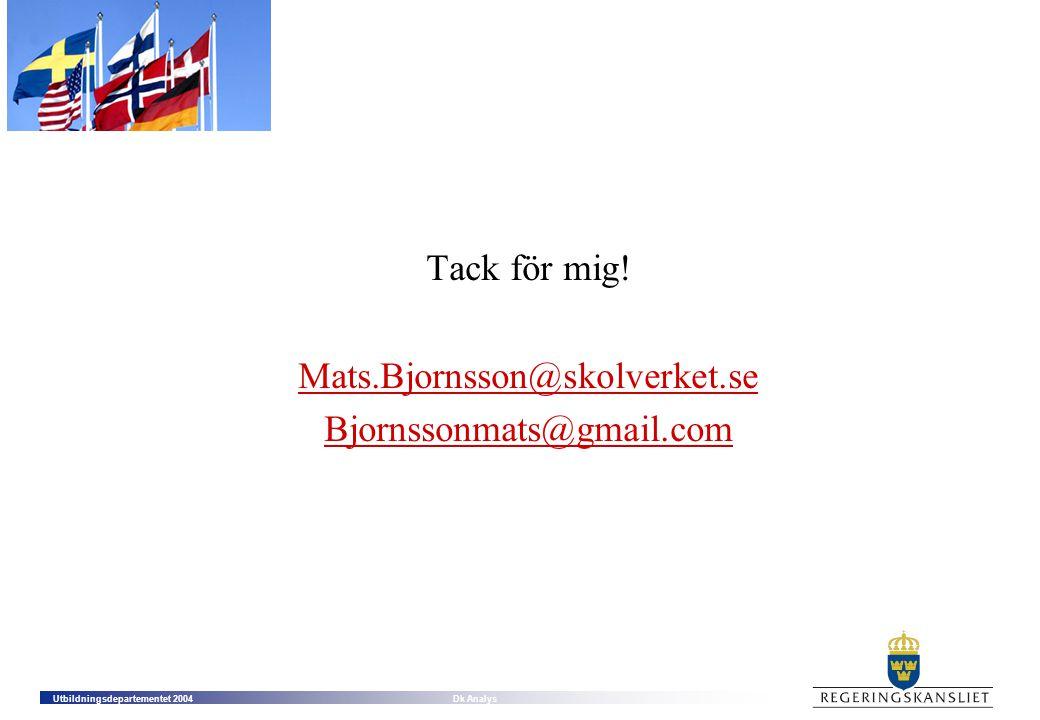 Tack för mig! Mats.Bjornsson@skolverket.se Bjornssonmats@gmail.com