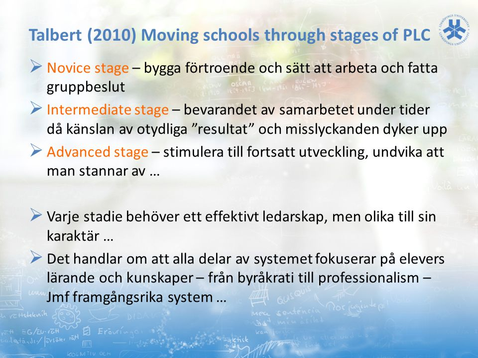Talbert (2010) Moving schools through stages of PLC