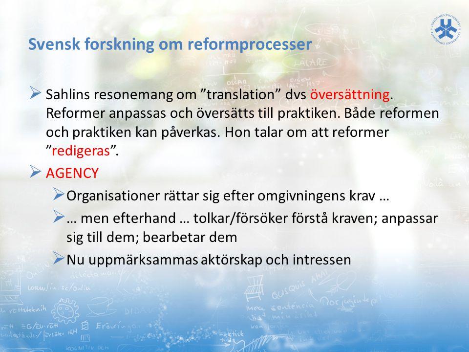 Svensk forskning om reformprocesser