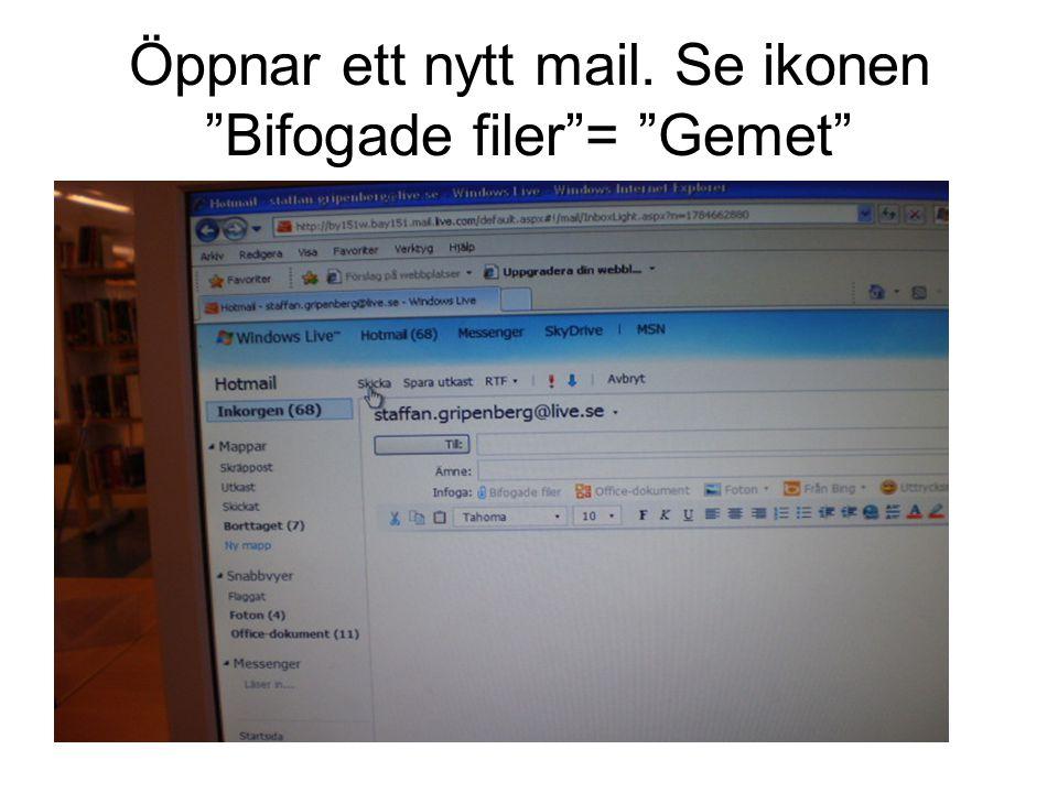 Öppnar ett nytt mail. Se ikonen Bifogade filer = Gemet