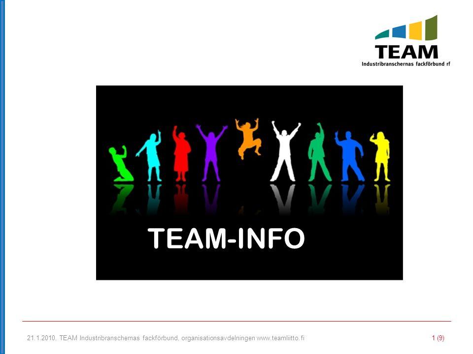 TEAM-INFO 21.1.2010, TEAM Industribranschernas fackförbund, organisationsavdelningen www.teamliitto.fi.