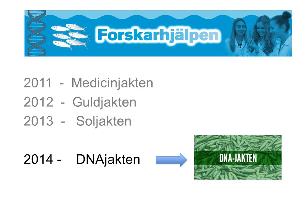 2011 - Medicinjakten 2012 - Guldjakten - Soljakten - DNAjakten