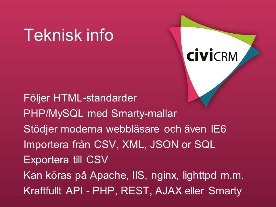 Teknisk info Följer HTML-standarder PHP/MySQL med Smarty-mallar
