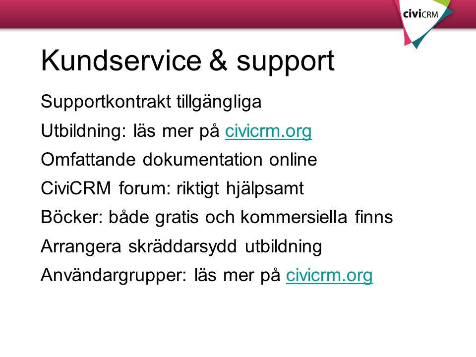 Kundservice & support Supportkontrakt tillgängliga