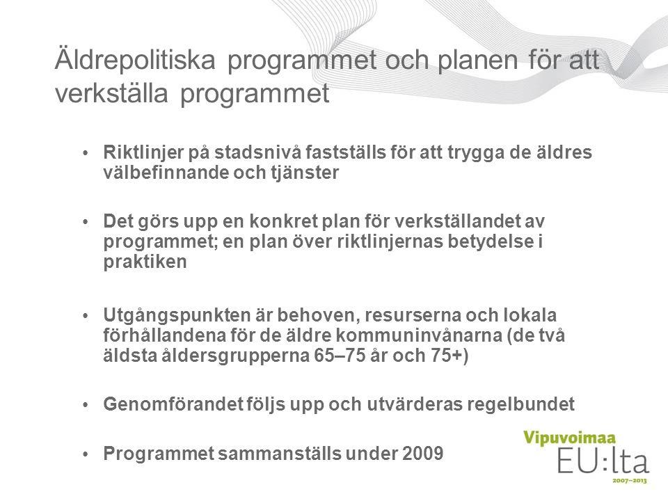Äldrepolitiska programmet och planen för att verkställa programmet