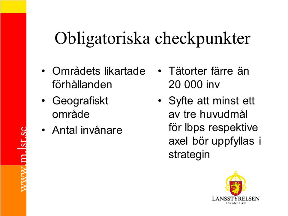 Obligatoriska checkpunkter