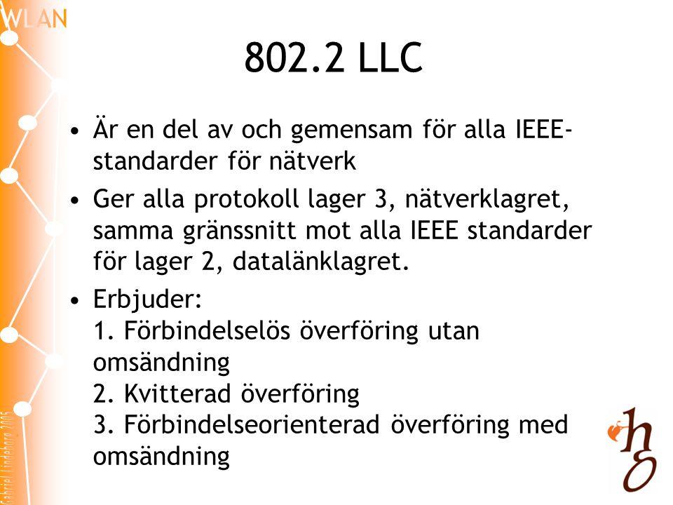 802.2 LLC Är en del av och gemensam för alla IEEE-standarder för nätverk.