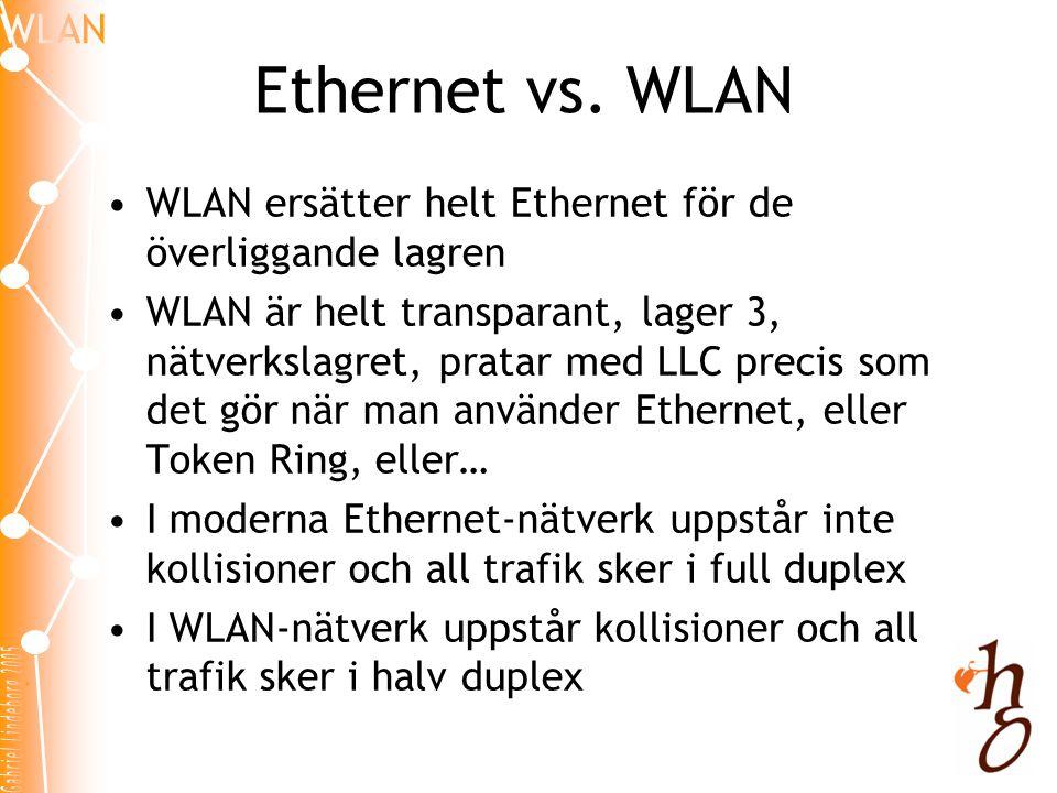 Ethernet vs. WLAN WLAN ersätter helt Ethernet för de överliggande lagren.