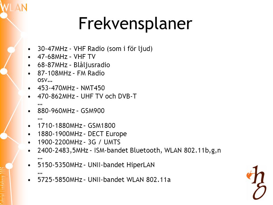 Frekvensplaner 30-47MHz - VHF Radio (som i för ljud) 47-68MHz – VHF TV