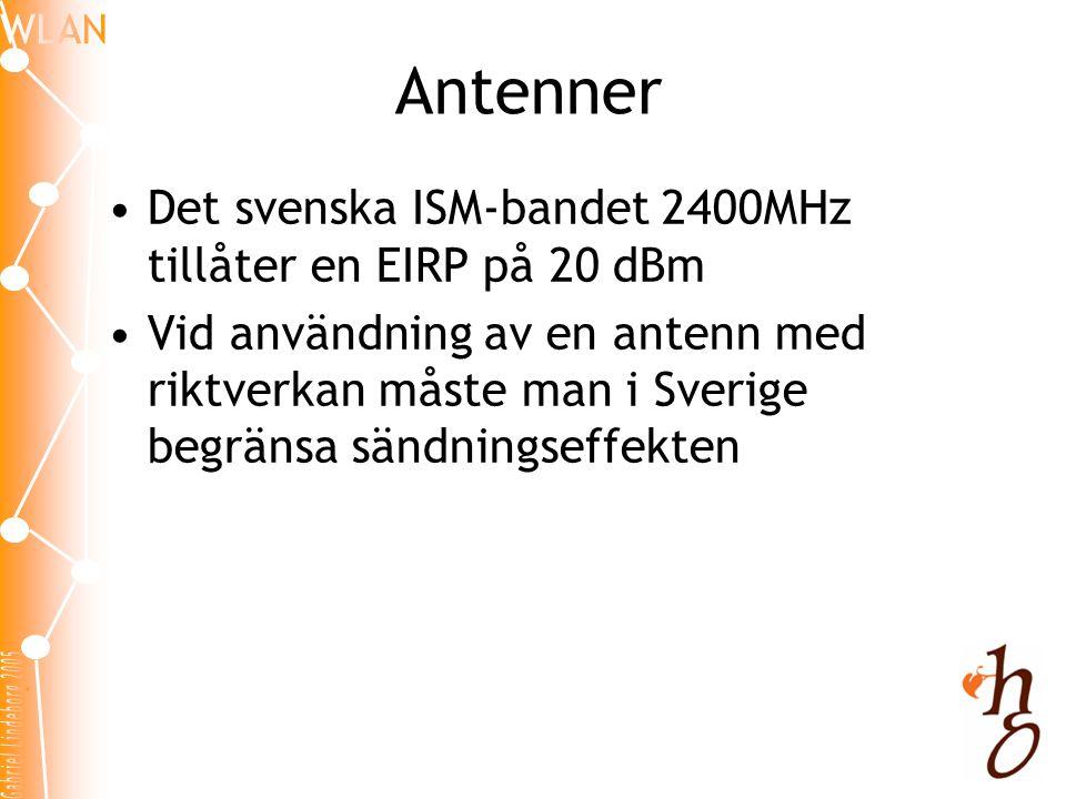 Antenner Det svenska ISM-bandet 2400MHz tillåter en EIRP på 20 dBm