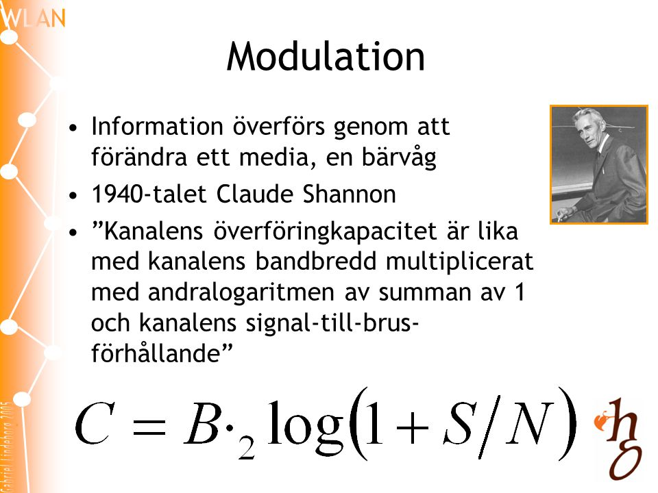 Modulation Information överförs genom att förändra ett media, en bärvåg. 1940-talet Claude Shannon.