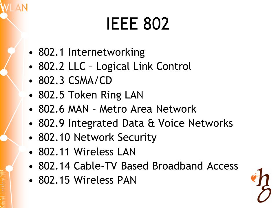 IEEE 802 802.1 Internetworking 802.2 LLC – Logical Link Control