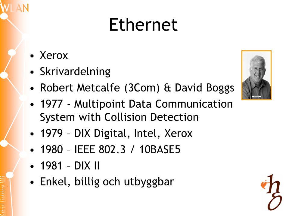 Ethernet Xerox Skrivardelning Robert Metcalfe (3Com) & David Boggs