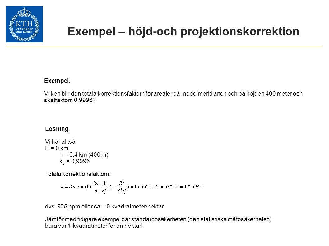 Exempel – höjd-och projektionskorrektion