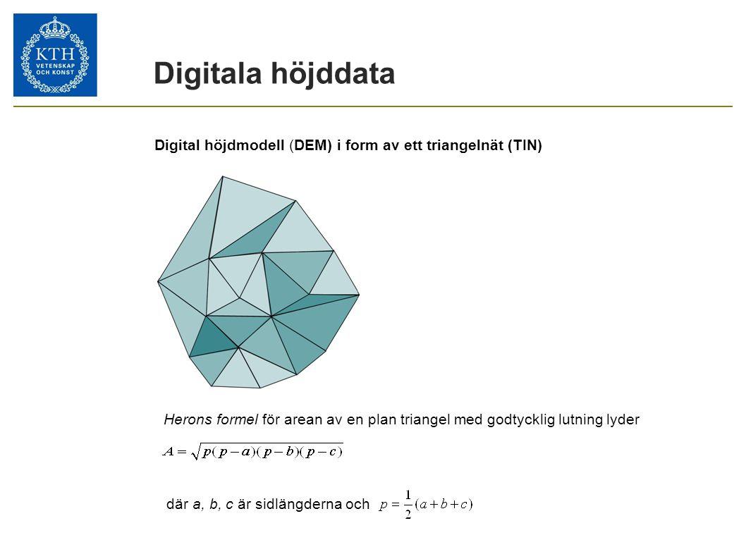 Digitala höjddata Digital höjdmodell (DEM) i form av ett triangelnät (TIN) Herons formel för arean av en plan triangel med godtycklig lutning lyder.