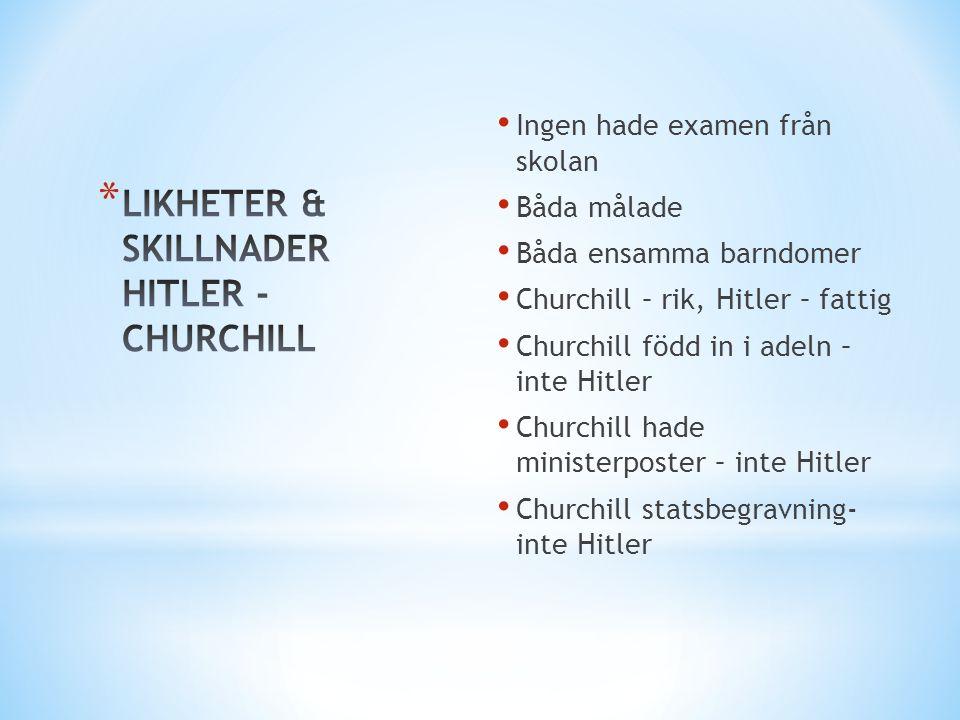 LIKHETER & SKILLNADER HITLER - CHURCHILL