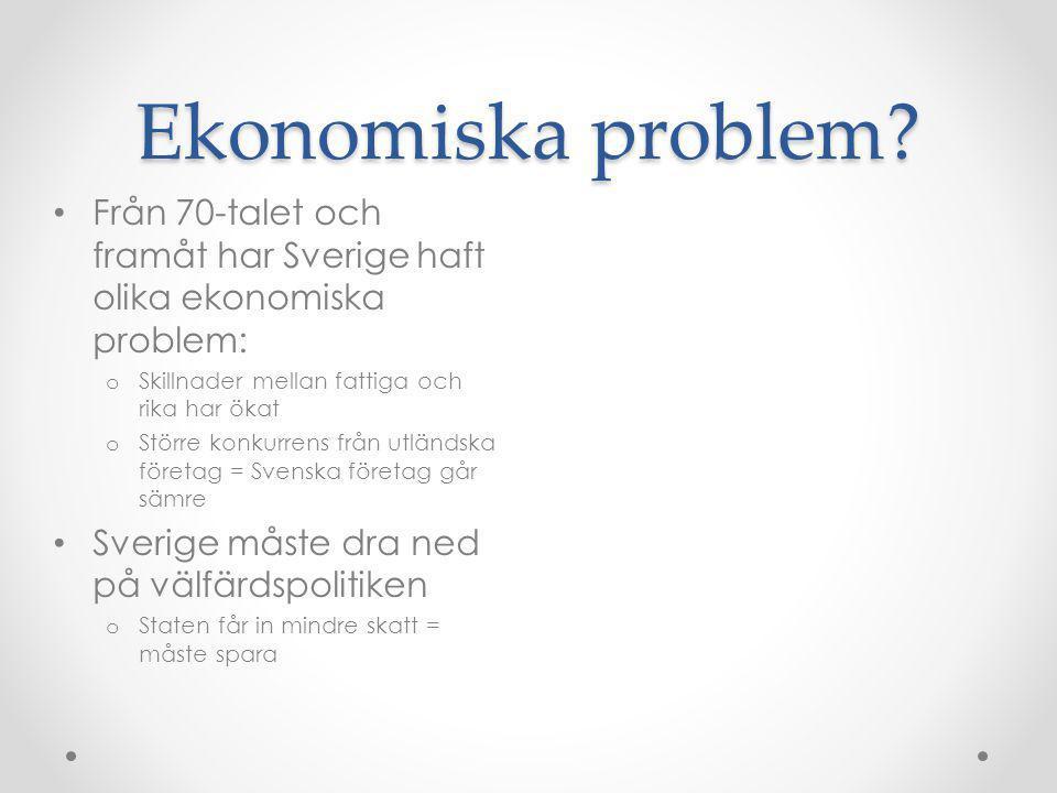 Ekonomiska problem Från 70-talet och framåt har Sverige haft olika ekonomiska problem: Skillnader mellan fattiga och rika har ökat.