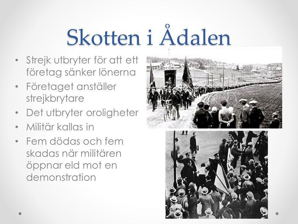 Skotten i Ådalen Strejk utbryter för att ett företag sänker lönerna