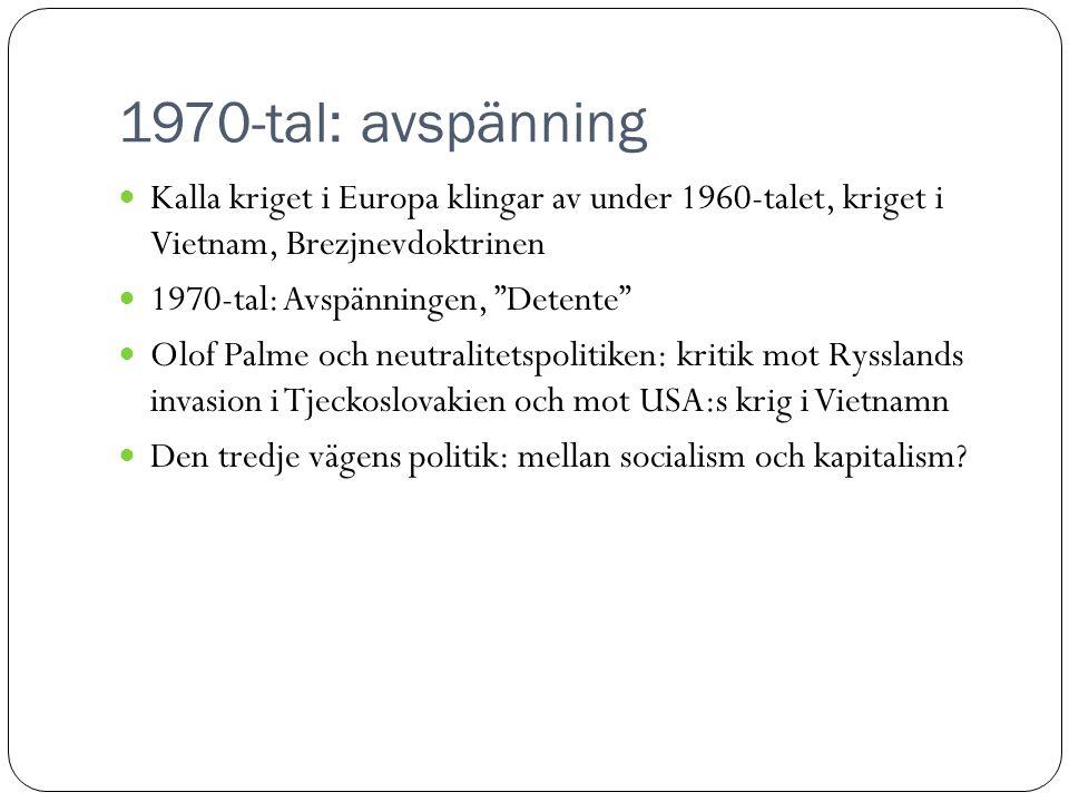 1970-tal: avspänning Kalla kriget i Europa klingar av under 1960-talet, kriget i Vietnam, Brezjnevdoktrinen.