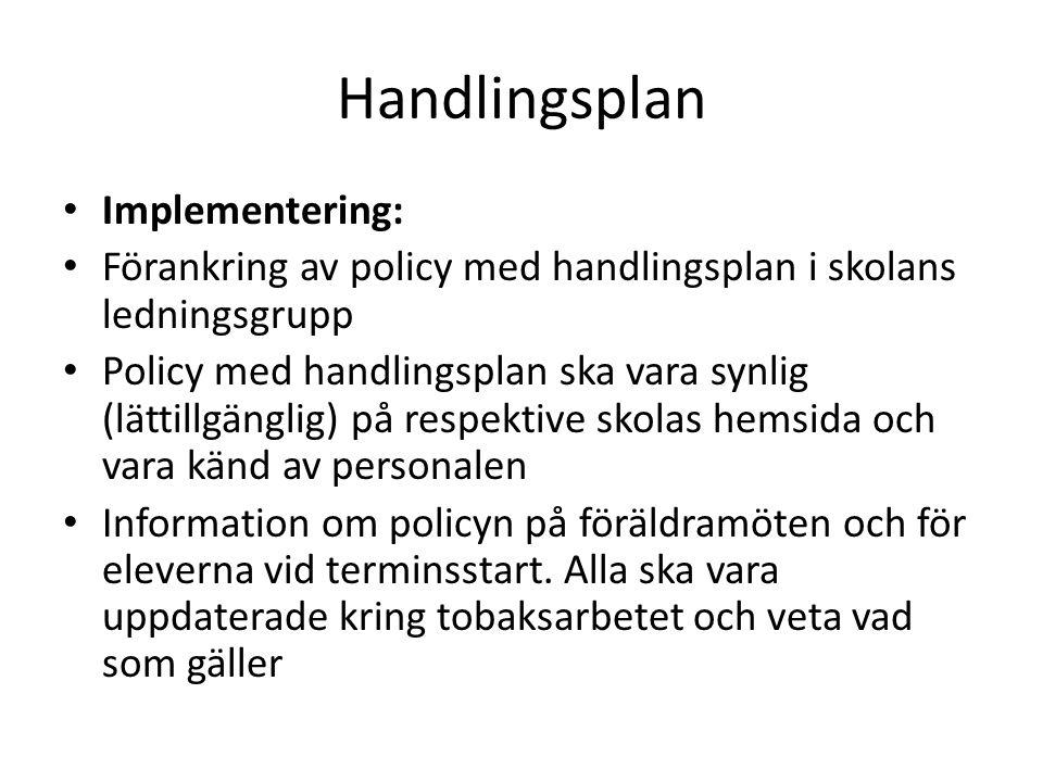 Handlingsplan Implementering: