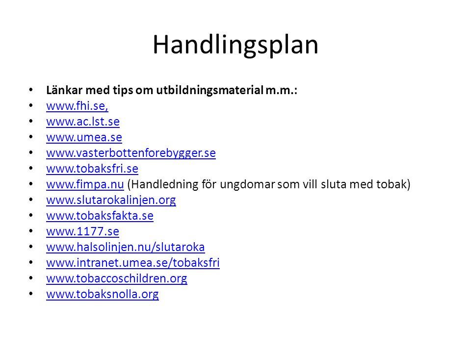 Handlingsplan Länkar med tips om utbildningsmaterial m.m.: www.fhi.se,