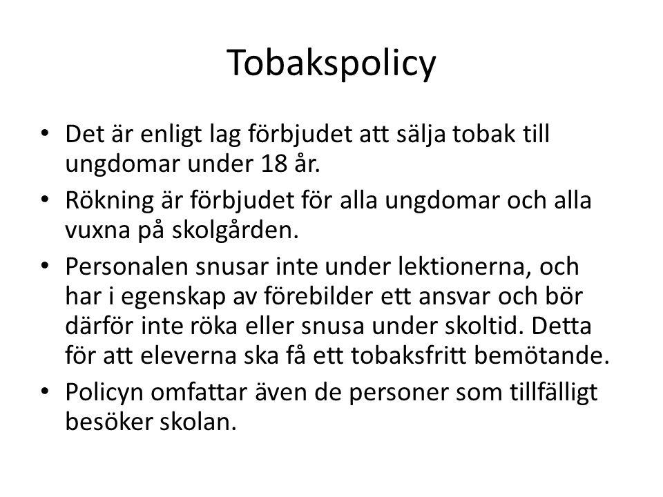 Tobakspolicy Det är enligt lag förbjudet att sälja tobak till ungdomar under 18 år.