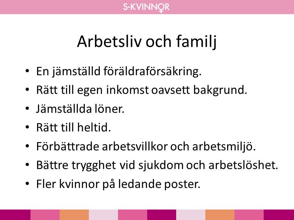 Arbetsliv och familj En jämställd föräldraförsäkring.