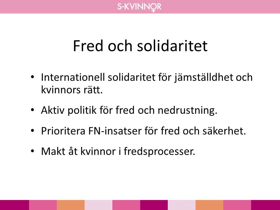 Fred och solidaritet Internationell solidaritet för jämställdhet och kvinnors rätt. Aktiv politik för fred och nedrustning.