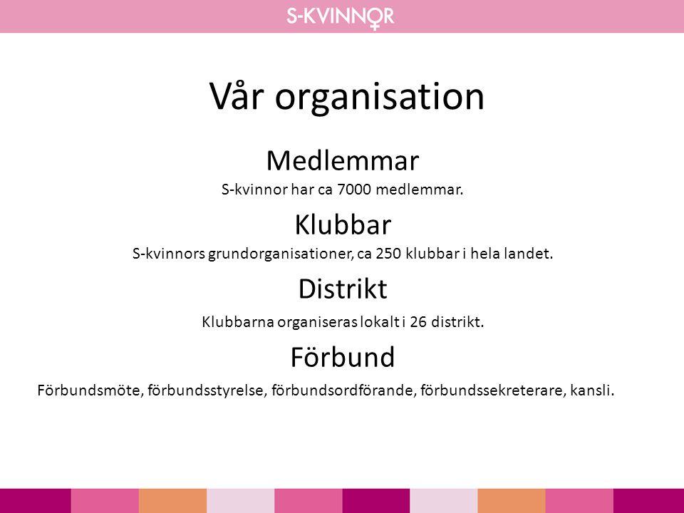 Vår organisation Medlemmar S-kvinnor har ca 7000 medlemmar.