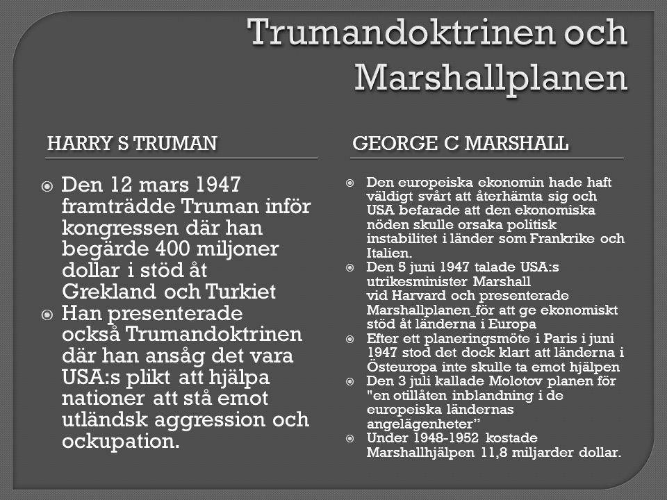 Trumandoktrinen och Marshallplanen